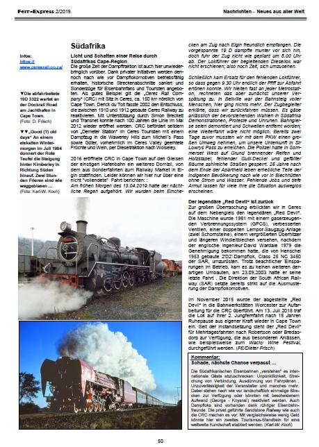 Fern-Express - Heft 2/2019 Nachrichten zu Bahnen in der Welt