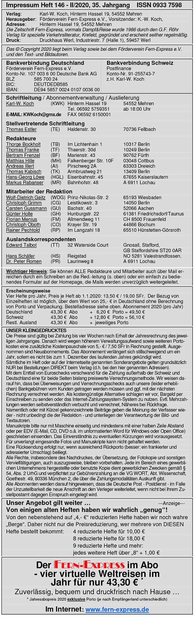 FernExpress: Impressum Heft 2/2020