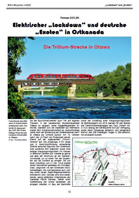Exoten in_Ostkanada: Bericht in FernExpress Heft 4-2020