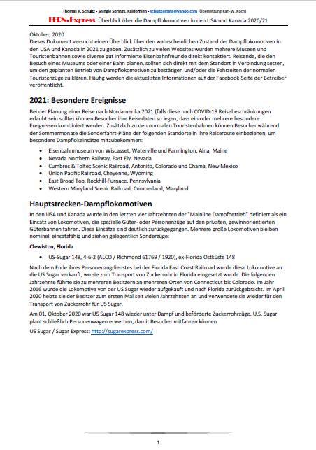 Übersicht Museumsbahnen USA und Kanada 2020