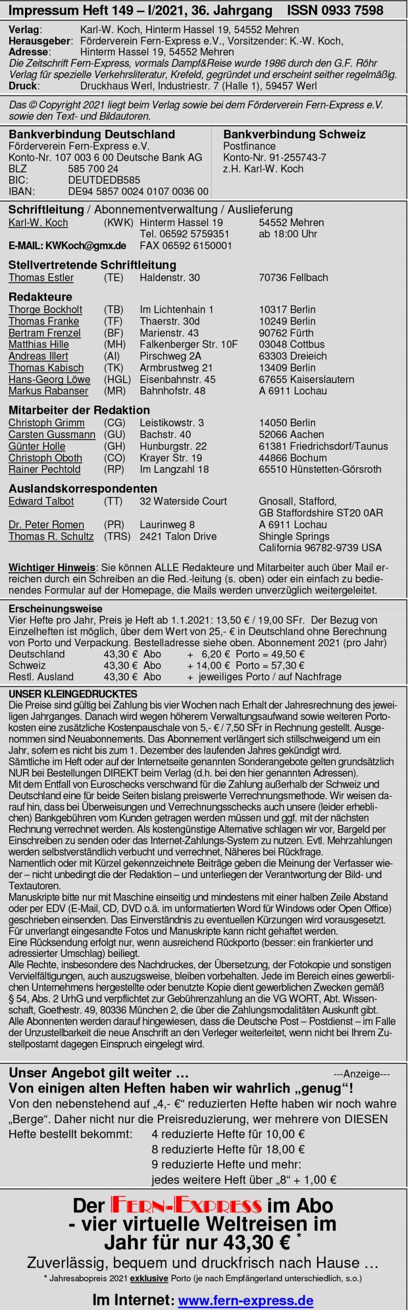 Fern-Express - Impressum (Stand: März 2021)